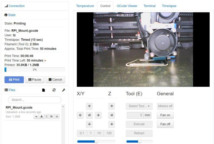 OctoPrint nyomtatás webkamerával