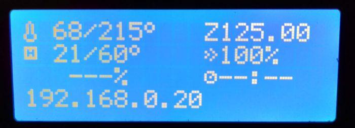 Prusa LCD menü OctoPrint IP cím