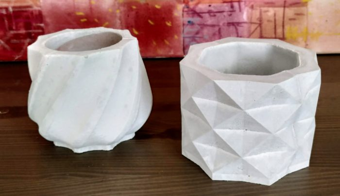 fehér Cement kaspó